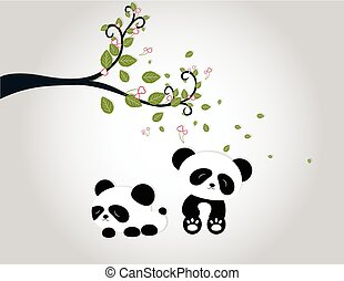 Panda playing under tree branches