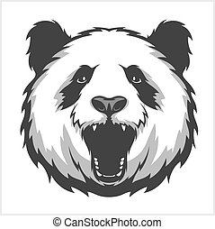 panda., portret, agresywny, bears., twarz