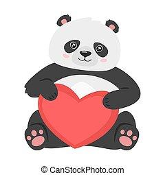 panda, presa a terra, cuore, carino, rosso