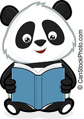 Panda reading a book - Clipart picture of a panda cartoon...