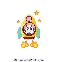 Panda Riding A Rocket Ship Stylized Fantastic Illustration