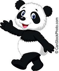 panda, söt, vinka, tecknad film, hand