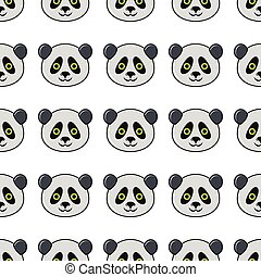 Panda seamless pattern in cartoon style isolated on white background vector illustration