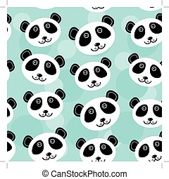 Panda Seamless pattern with funny cute animal face on a blue background