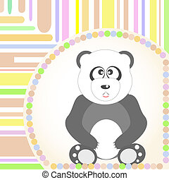 panda., seduta, vettore, saluti, sorridente, scheda