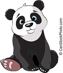 panda, sentando, cute