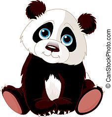 panda, sentando