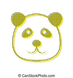 Panda sign illustration. Vector. Yellow icon with square pattern