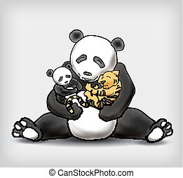 Panda sitting with her child and little baby tiger vector illustration