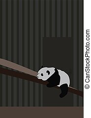 Panda sleeping, illustration, vector on white background.