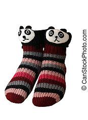 Panda Slipper Socks - A pair of panda slipper socks, ...