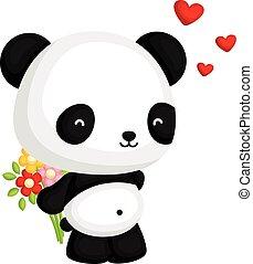 panda, sostener la flor, ramo
