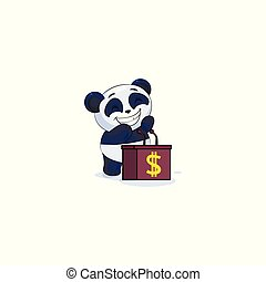 panda sticker emoticon behind podium