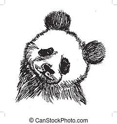 panda, symbol, von, porzellan