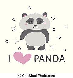 Panda t-shirt design with cute panda bear vector design
