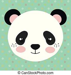 panda, tendre, ours, mignon, tête, caractère