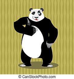 Panda thumb up and winks. Chinese b