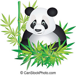 Panda vector - Bear panda mother and young and bamboo leaves...
