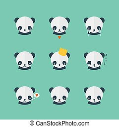 Panda vector icons set in flat desi