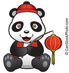 Panda - Vector illustration of panda cartoon