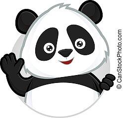panda, waving
