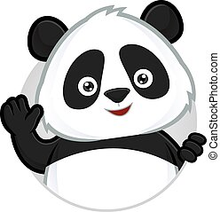 Panda waving - Clipart picture of a panda cartoon character...