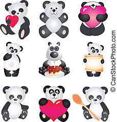 panda., wektor, zbiór
