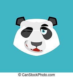 Panda winking Emoji. Chinese bear happy emotion isolated