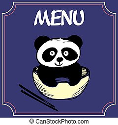 Panda with a plate with chopsticks, menu or banner, vector