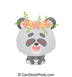 Panda with a wreath on his head. Vector illustration on a white background.