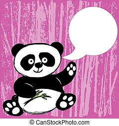 Panda with bamboo branch