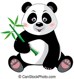Panda with bamboo isolated - Sitting cute little panda with...