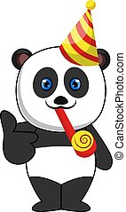 Panda with birthday hat, illustration, vector on white background.