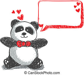 panda with bubble doodle