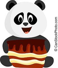 Panda with cake, illustration, vector on white background.