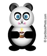 panda with cake