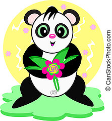 Panda with Flower