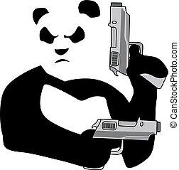 Panda with guns2 - Panda with guns on white background