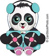 Panda with headphones listening to vintage tape recorder. cartoon character.