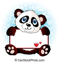 Panda with heart banner