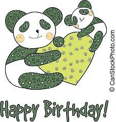 Panda with heart happy birthday card.
