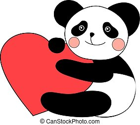 Panda with heart happy valentines day.