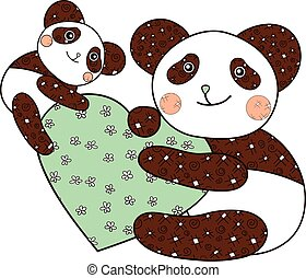 Panda with heart kid coloring book page.