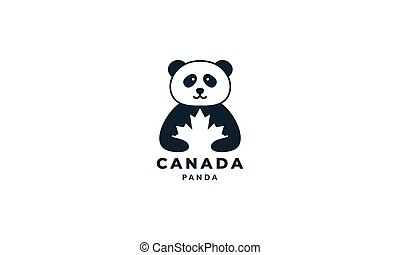 panda with maple logo icon vector illustration