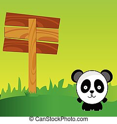 panda with signboard in the nature art color vector illustration
