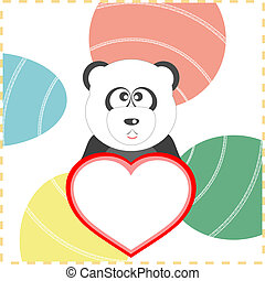 panda with the heart background