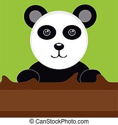 Panda with tree on green background