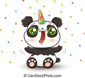 panda with unicorn horn. - Vector illustration of a cute...