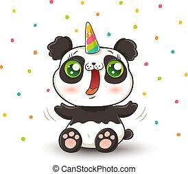 panda with unicorn horn.