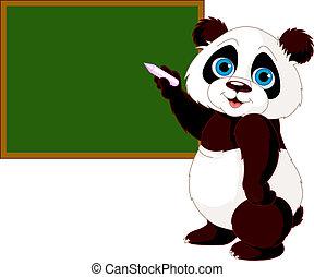Cute panda writing on blackboard